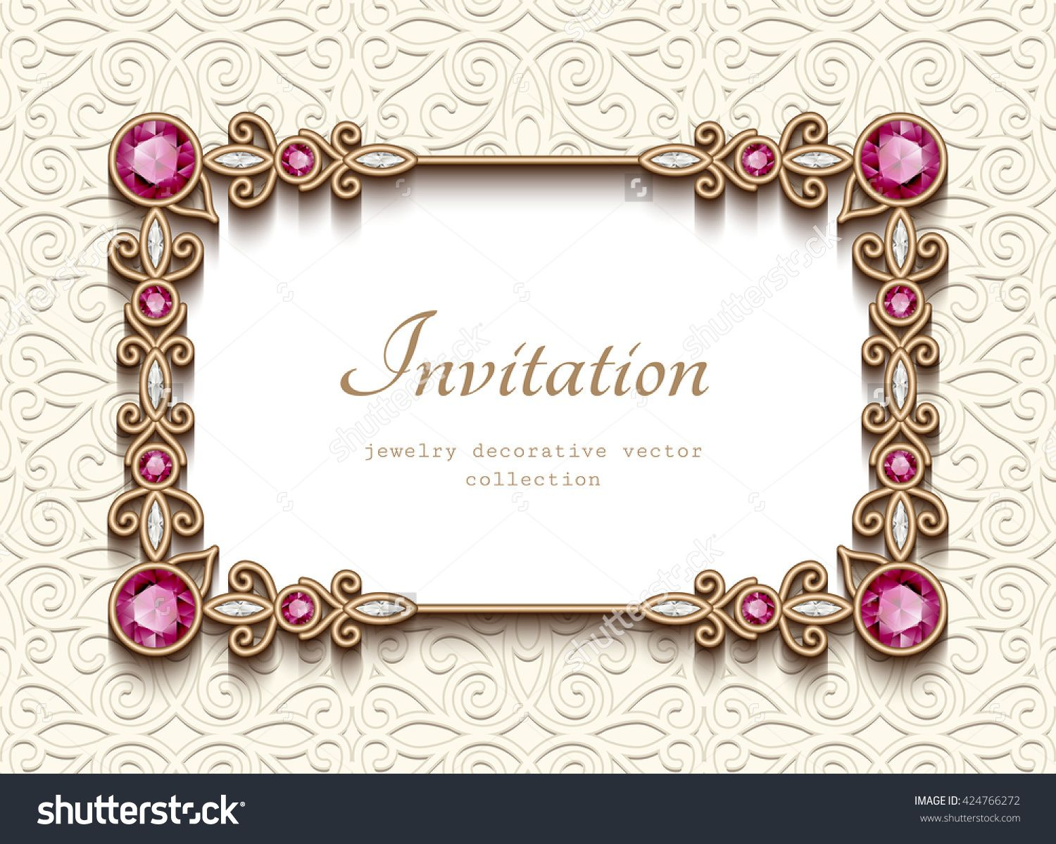 Vintage card with diamond jewelry decoration gold rectangle frame vintage card with diamond jewelry decoration gold rectangle frame elegant wedding invitation or announcement template vector illustration buy this stopboris Images