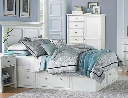 Abbott White Queen Storage Bed King, Art Van Abbott Queen Storage Bed