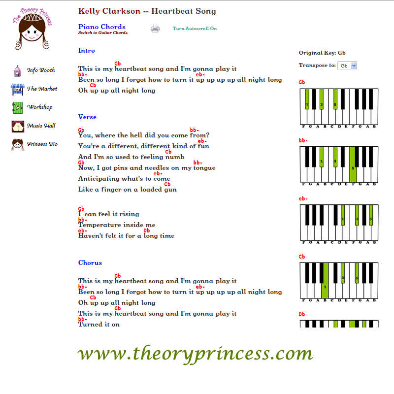 Heartbeat Song By Kelly Clarkson Lyrics Chords Chord Charts