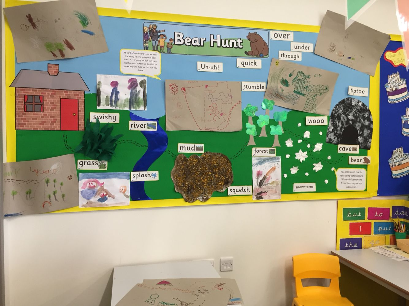 Bear Hunt Display With Maps And Art Work