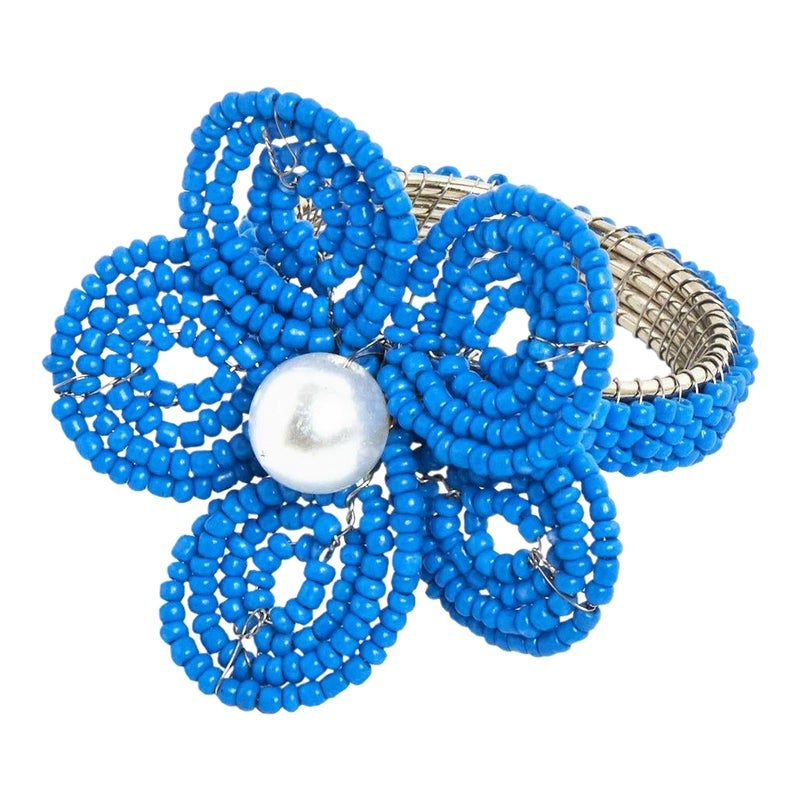 Navy Floral Napkin Ring