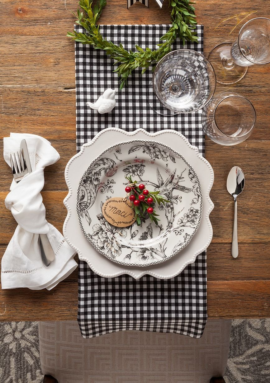 Update Your Tableware With A Homegoodshappy Printed Plate Mix And Match With Fabric Like We Did Here With S Table Decorations Christmas Table Table Settings
