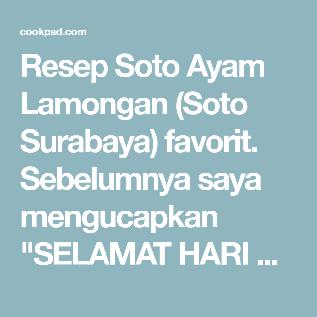 Soto Ayam Lamongan Soto Surabaya Resep Resep Dan Ayam