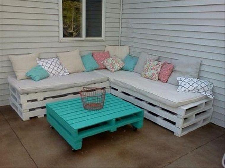 Pallet Furniture Banco Para La Terraza Con Mesa Celeste