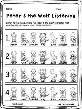 Peter The Wolf Listening Quiz Kindergarten Music Music Listening Activities Music Assessments