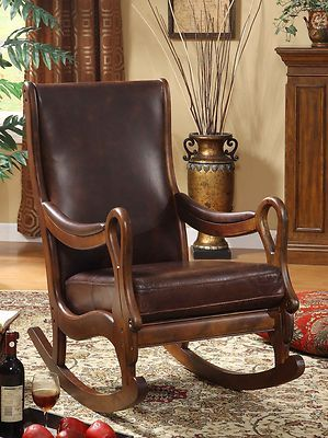 Leather Wood Rocking Chair Heirloom Quality Leather