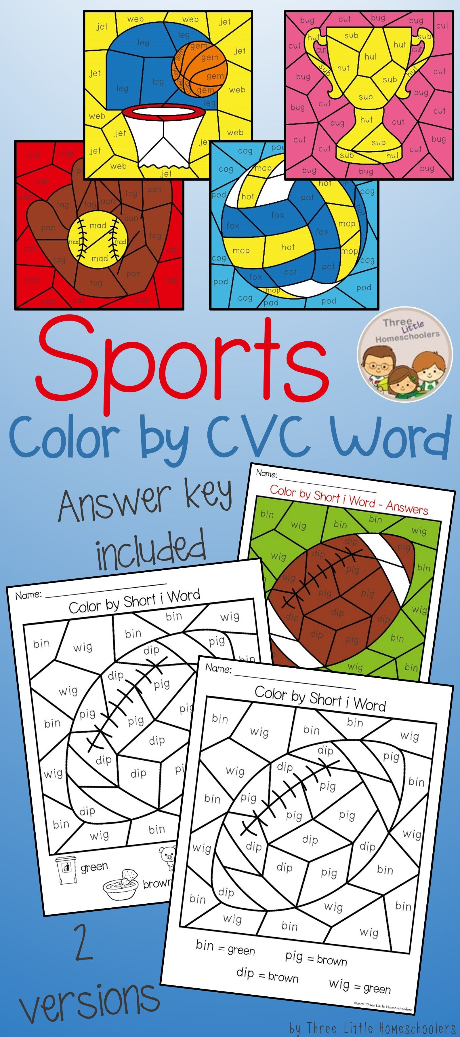 Sports Themed Color By Cvc Word