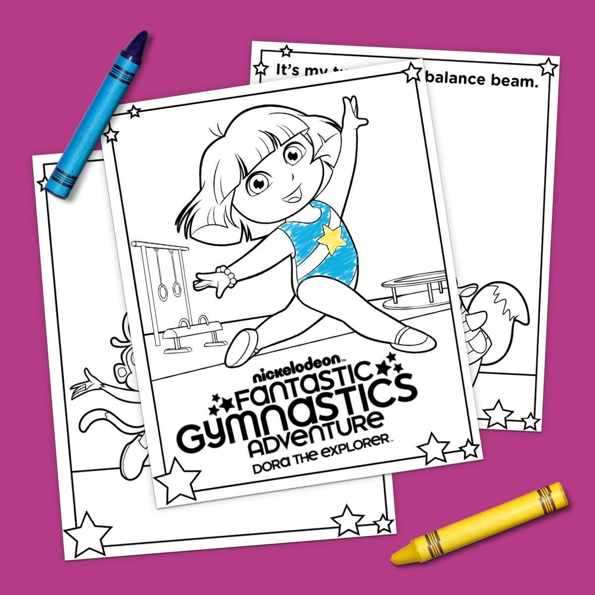 Dora Gymnastics Coloring Pack Dora Dora The Explorer Coloring Pages [ 1200 x 1200 Pixel ]