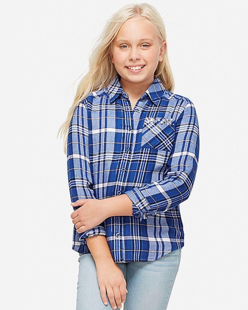 Justice Girls Blue Snuggle Soft Embellished Pocket Plaid