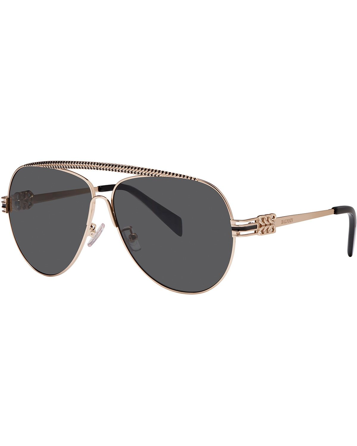 298613bf3c017 Balmain Studio Metal Chain-Rim Aviator Sunglasses