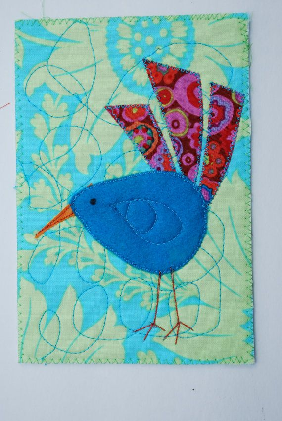 Turquoise bird quilted postcard. this bird would make a great pattern for a mug rug or quilt.