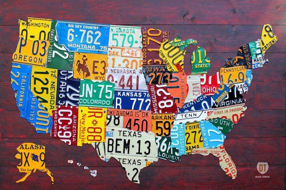 Placa de metal para la pared con dise/ño de matr/ícula americana Texas | WTF inspiradora