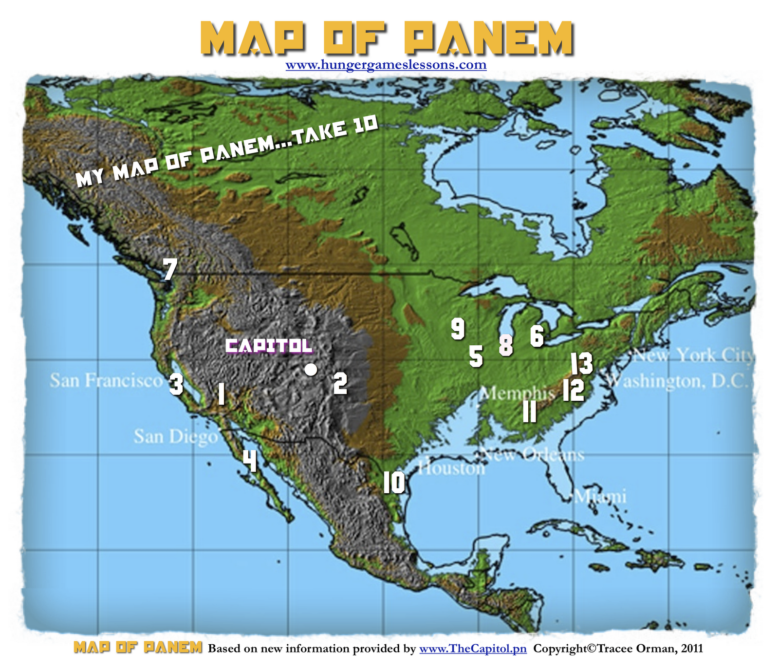 Map of panem hungergameslessons jennifer lawrence my updated map of panem the hunger games trilogy gumiabroncs Image collections