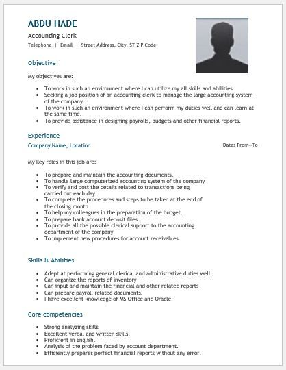 Accounting Clerk Resume DOWNLOAD at   writeresume2org