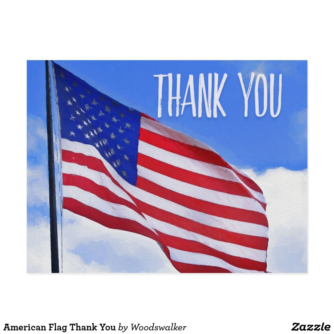American Flag Thank You Postcard Zazzle Com In 2020 Thank You Postcards Postcard American Flag
