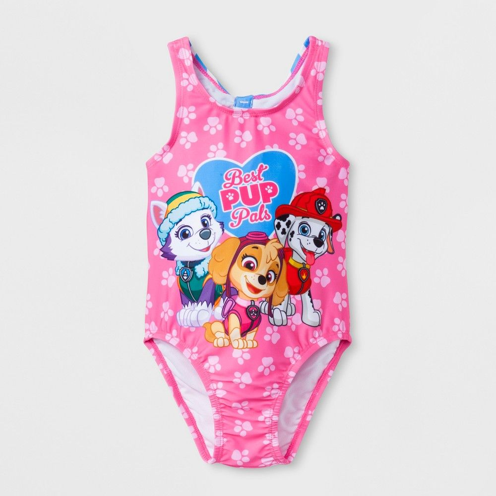 NEW Paw Patrol Best Pup Pals Toddler Girls One Piece Bathing Swimsuit Pink Sz 3T