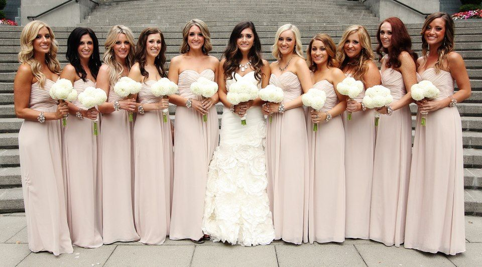 wedding dress and bridesmaid dresses what matches