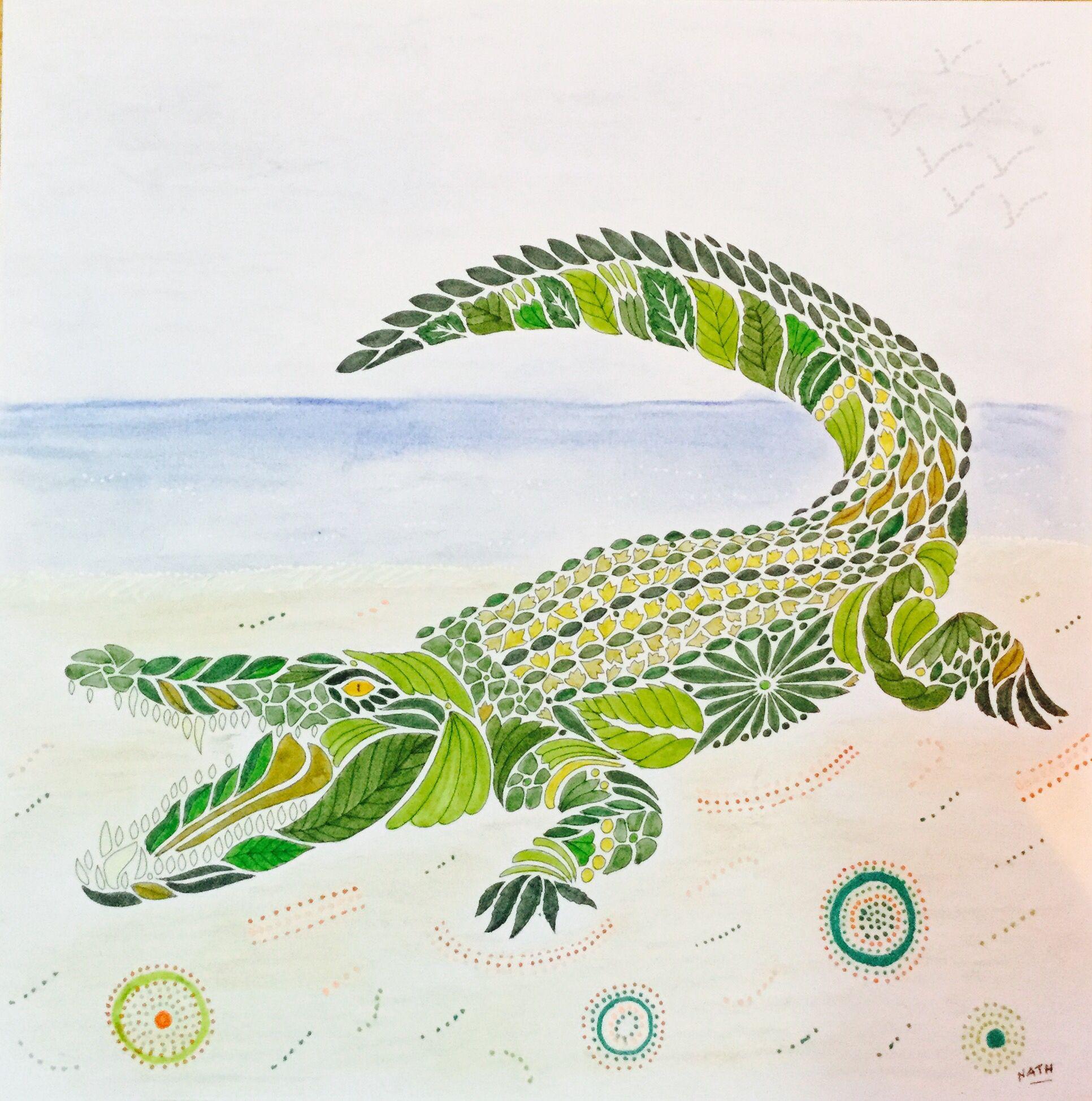 My colouring millie marotta wild savannah crocodile millie marotta 1 in 2018 pinterest - Crocodile dessin ...
