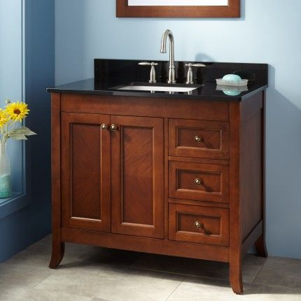 "36"" Mayfield Vanity For Rectangular Undermount Sink  Medium Brilliant Cherry Bathroom Vanity Review"