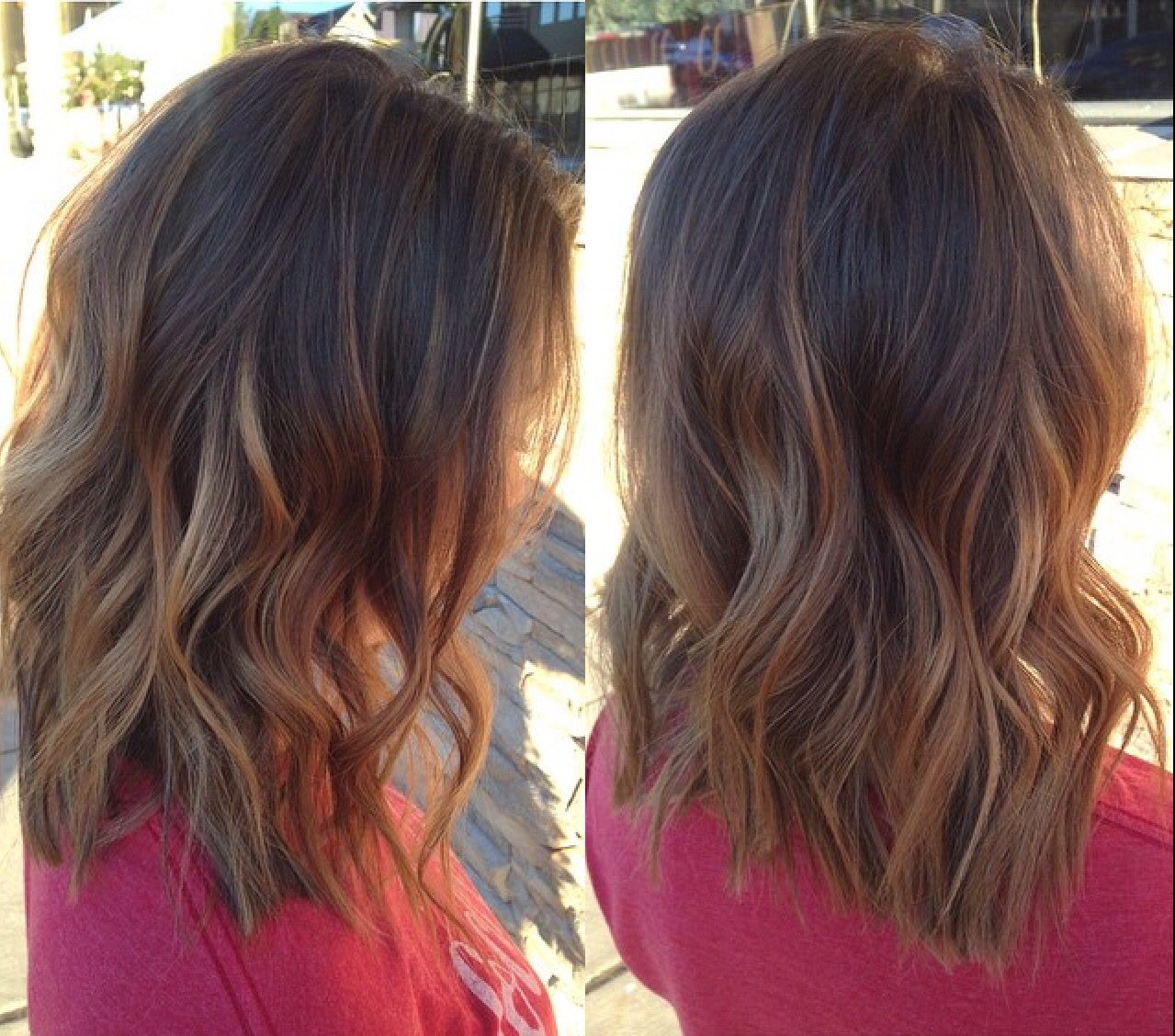 Long bob hair cut and caramel balayage done by stylist - Balayage braun caramel ...