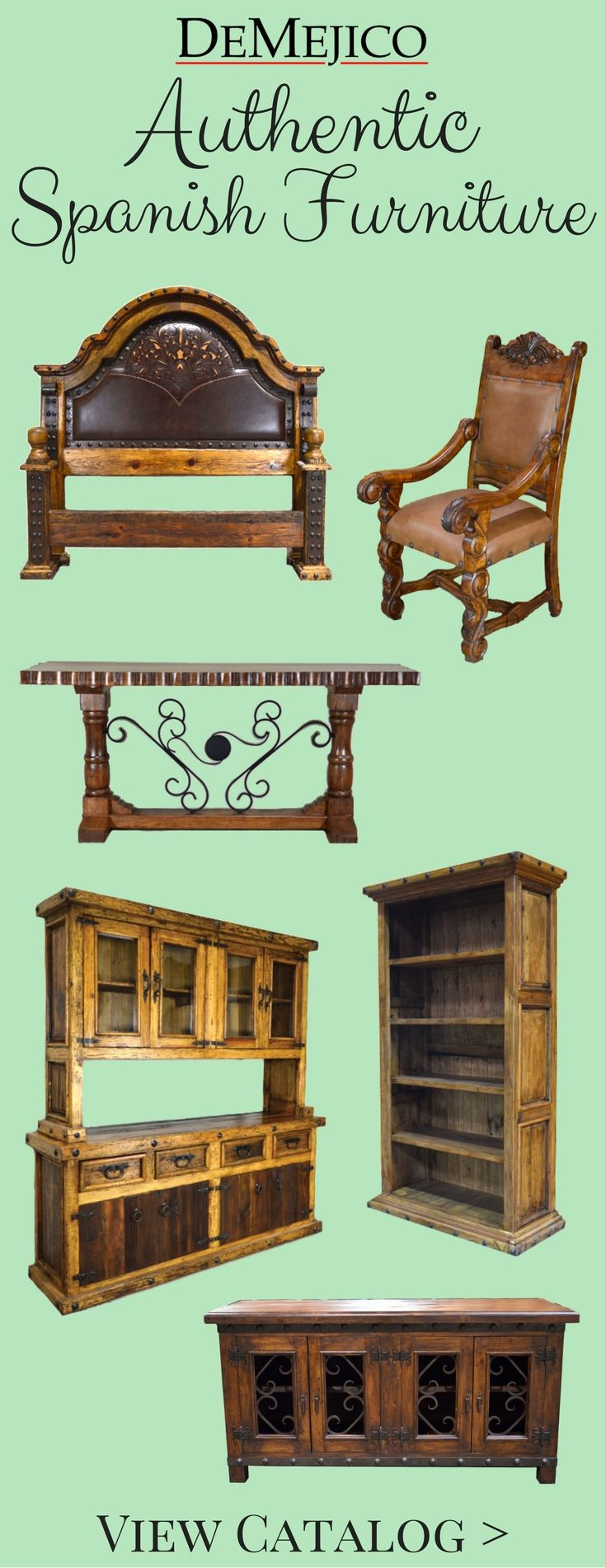Authentic Handcrafted Rustic Spanish Style Furniture Custom Furniture Demejico Pinterest