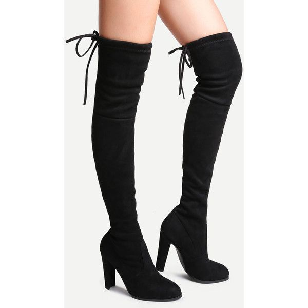 Black Faux Leather Chunky Elegant Winter OTK/Thigh High Suede Point Toe High Heel Lace up Boots, EUR35, EUR36, EUR37, EUR38, EUR39, EUR40, EUR41 Black Style: E…