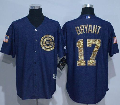 buy popular 082b2 dcc95 Cubs #17 Kris Bryant Denim Blue Salute to Service Stitched ...