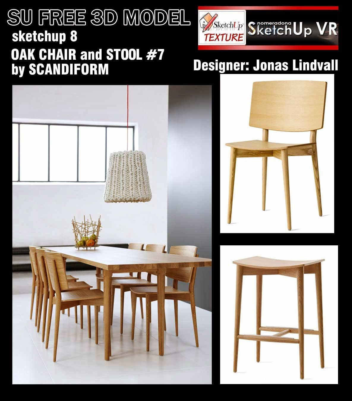 SKETCHUP TEXTURE: Free Sketchup 3d Models Oak Chairs And Stool #7