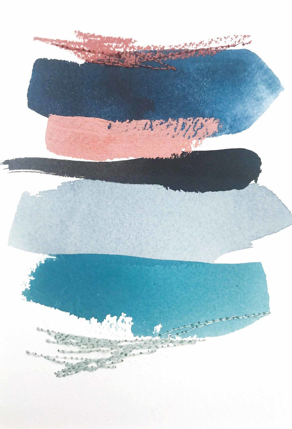 Color Study In Indigo Teal Aqua Grey Blue Black Copper And
