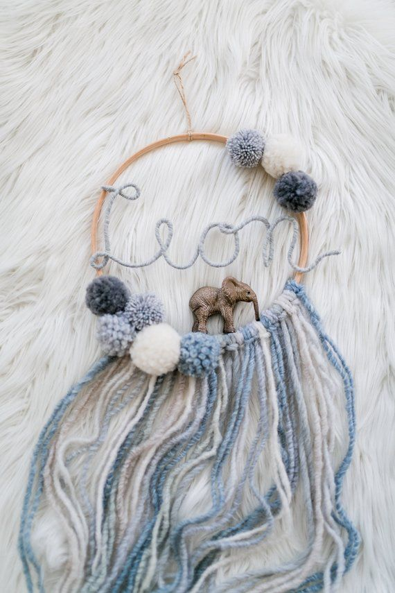 Photo of Dream Catcher with Name and Animal Baby Nursery Macrame Bobbles