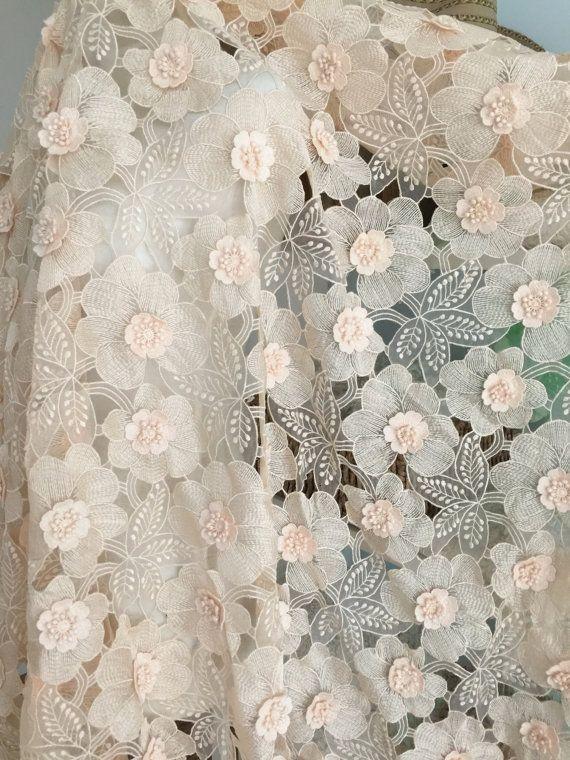 3D Flower Lace Fabric with Blush Applique Rosette by lacetime ... 39b00555be4c