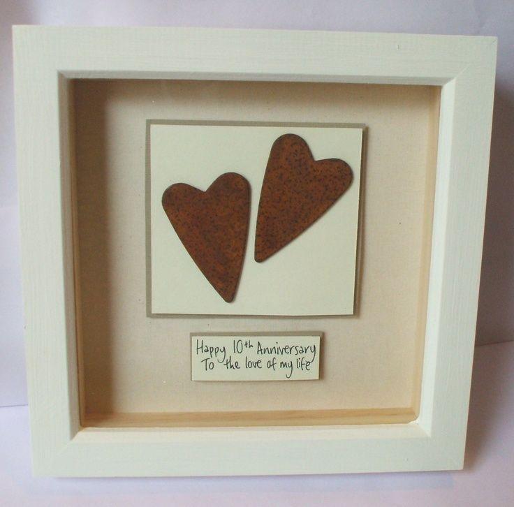Rusty Tin Hearts Wedding Anniversary Gift By Heartboxart