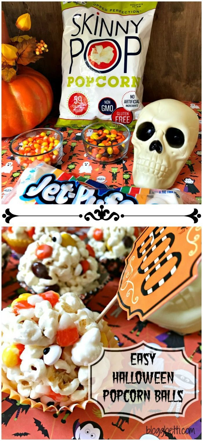 These Halloween Popcorn Balls are a great Halloween treat. It's a simple marshmallow popcorn recipe filled with candy corn and Reese's Pieces with the perfect amount of gooeyness and sweetness. The candy corn and Reese's Pieces add the perfect Halloween colors, too. #popcornballs These Halloween Popcorn Balls are a great Halloween treat. It's a simple marshmallow popcorn recipe filled with candy corn and Reese's Pieces with the perfect amount of gooeyness and sweetness. The candy corn and Reese' #popcornballs