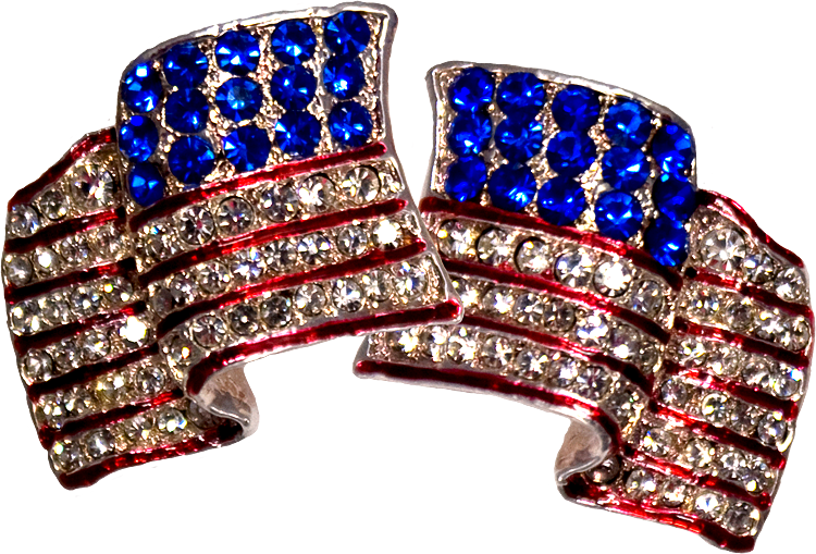 Waving Flag Earrings - Wear the flag! Gold-plate American earrings set with diamond and lik/e Swarovski crystals. Price: $17.50  #American flaag earrings #patriotic earrings http://www.starsandstripesproducts.com/waving-flag-earrings