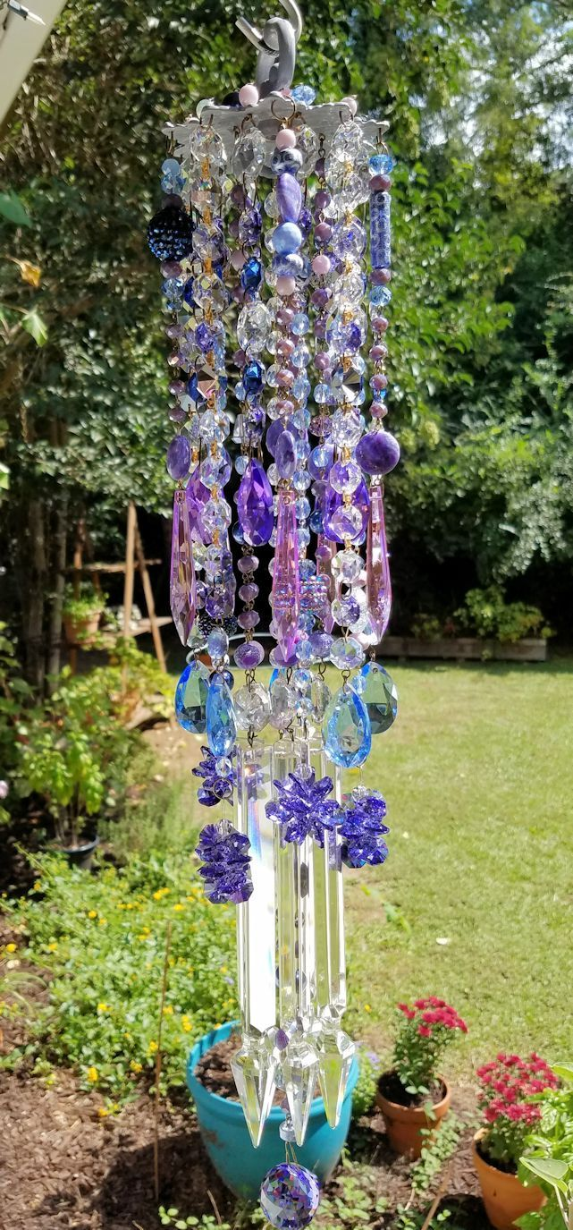 Orchid and Sapphire Antique Crystal Wind Chime, Crystal Wind Chime ...