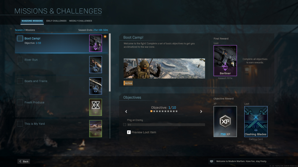 Missions And Challenges Screenshot Of Call Of Duty Modern Warfare Video Game Interface In 2020 Modern Warfare Game Interface Missions