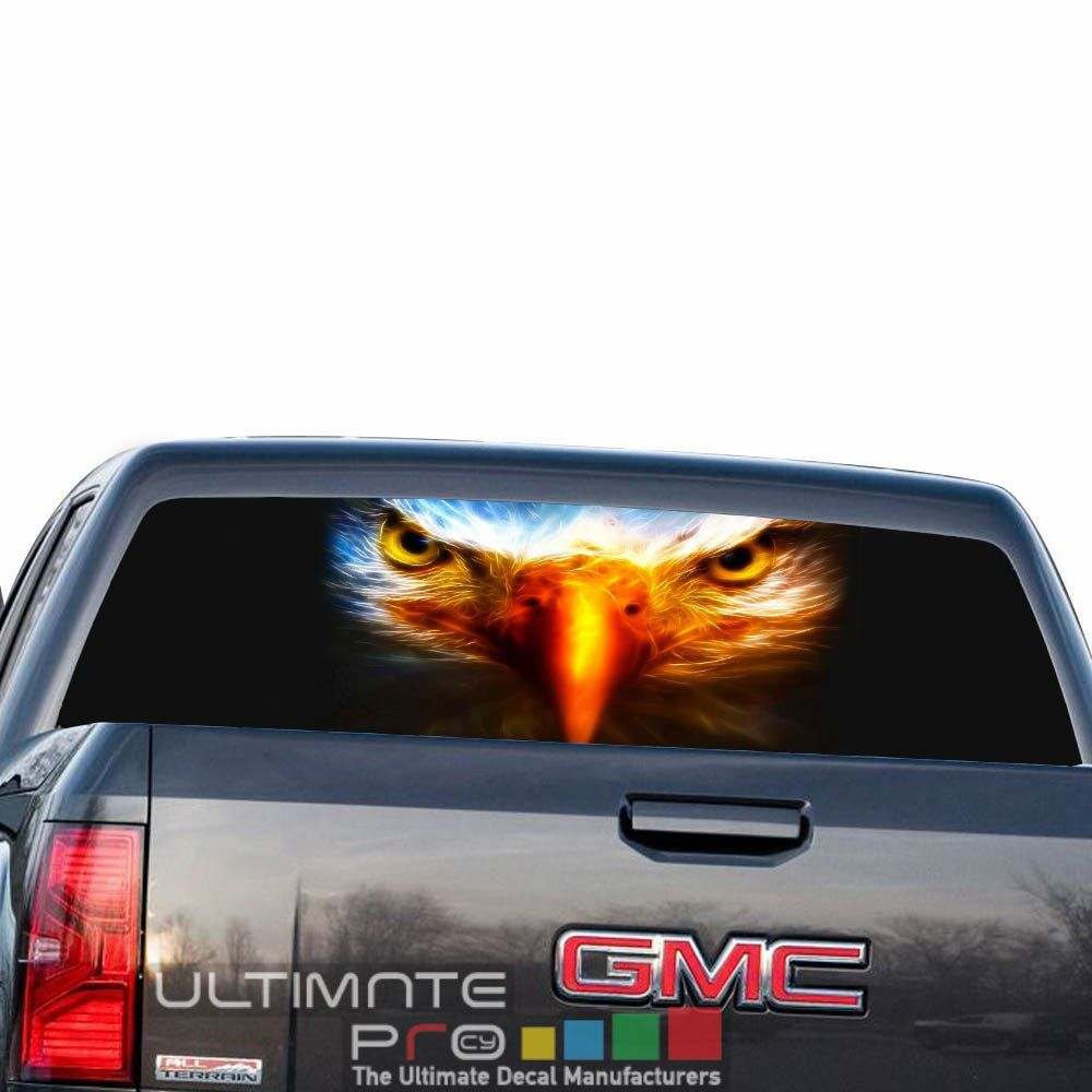 Eagle us decals rear window perforated see thru sticker graphic decal sticker compatible with gmc sierra film printed off road 4x4