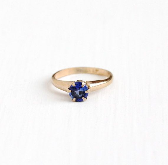 Sale Vintage 10k Yellow Gold Filled Created Sapphire Ring Etsy September Birthstone Jewelry Sapphire Solitaire Ring Gold Filled Jewelry