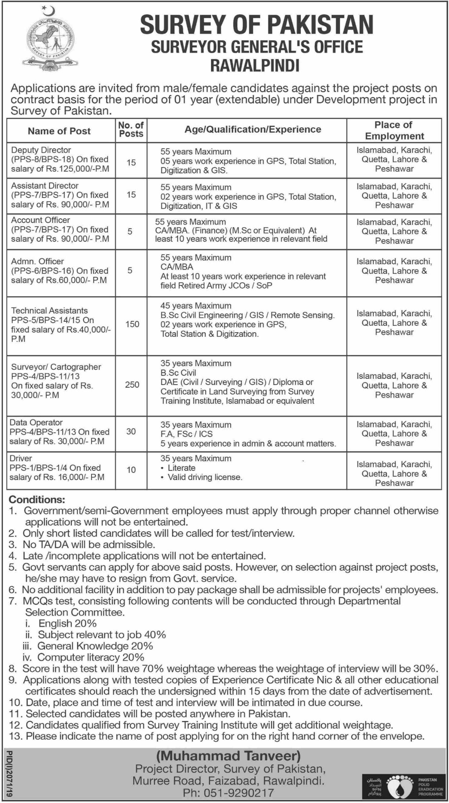 Survey Of Pakistan Jobs 2019 Surveyor General Office Rawalpindi