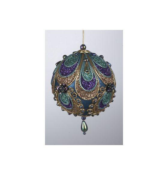 Peacock Glittered and Beaded Satin Ball Christmas Ornament