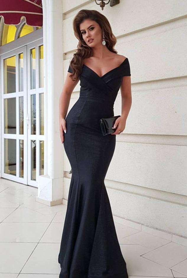 black evening gowns,mermaid prom dress,v-neck prom dress,long ...