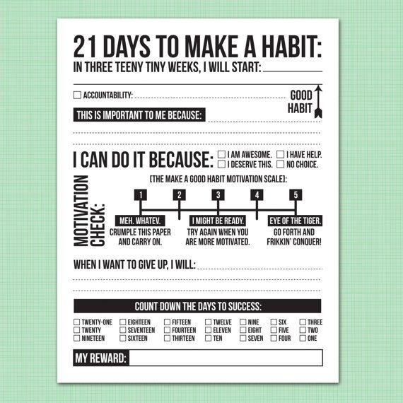 21 days to make a good habit printable pdf sheet dinner ideas