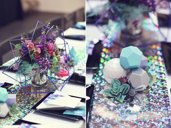 Purple, Blue, Silver Centerpiece Details  - Galaxy Inspired Wedding Shoot   Event Design by Harmony Creative Studio, Flowers by Primary Petals, Photos by Lukas & Suzy VanDyke Photography