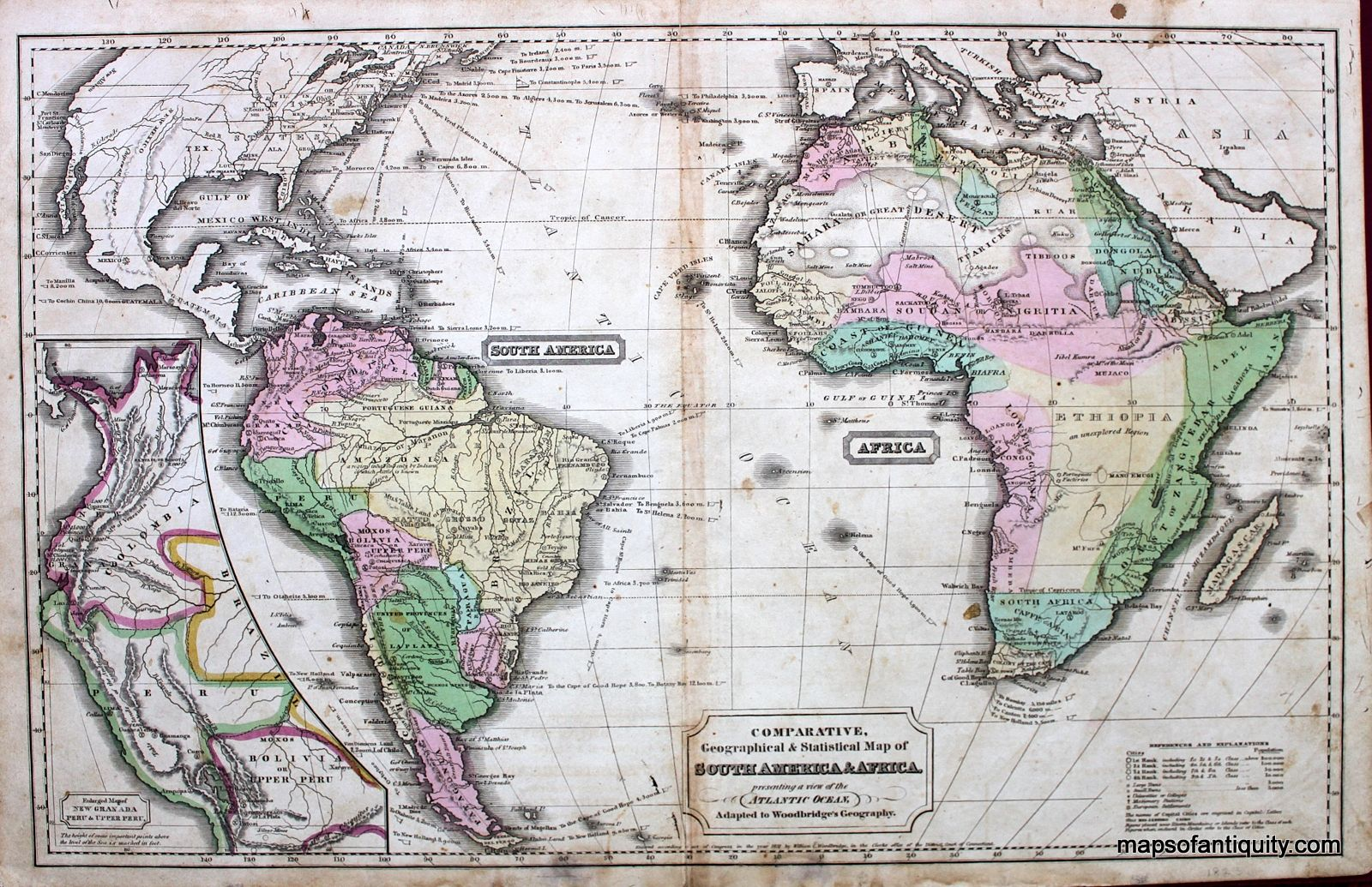 South America Map Borders%0A Comparative Geographical and Statistical Map of South America and Africa   presenting a view of the Atlantic Ocean       SOLD       Antique Maps and  Charts