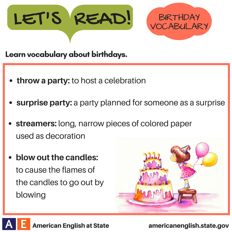 Let's Read! Birthday Vocabulary - Definitions