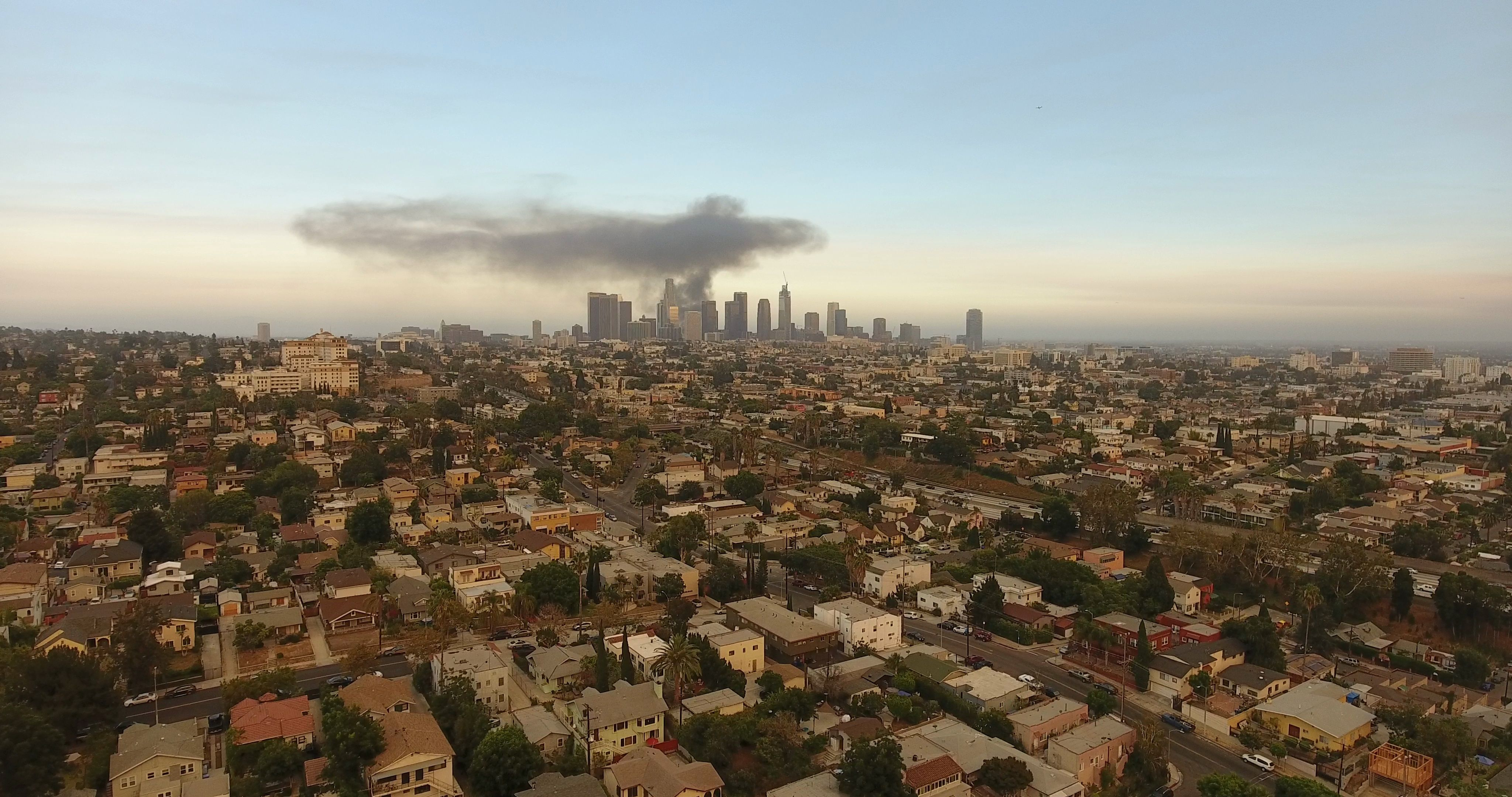 Downtown Los Angeles On Fire Plumes Of Black Smoke Over Skyline Stock Footage Ad Fire Plumes Angeles Downtown Downtown Los Angeles Downtown Los Angeles