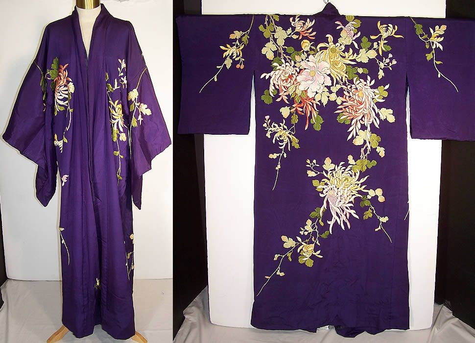 Antique Japanese Purple Silk Padded Satin Stitch Embroidery Chrysanthemum  Kimono Front view. 0c59ad2e1