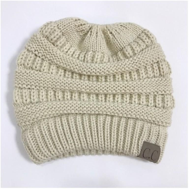 com: Knitted Ponytail Hat