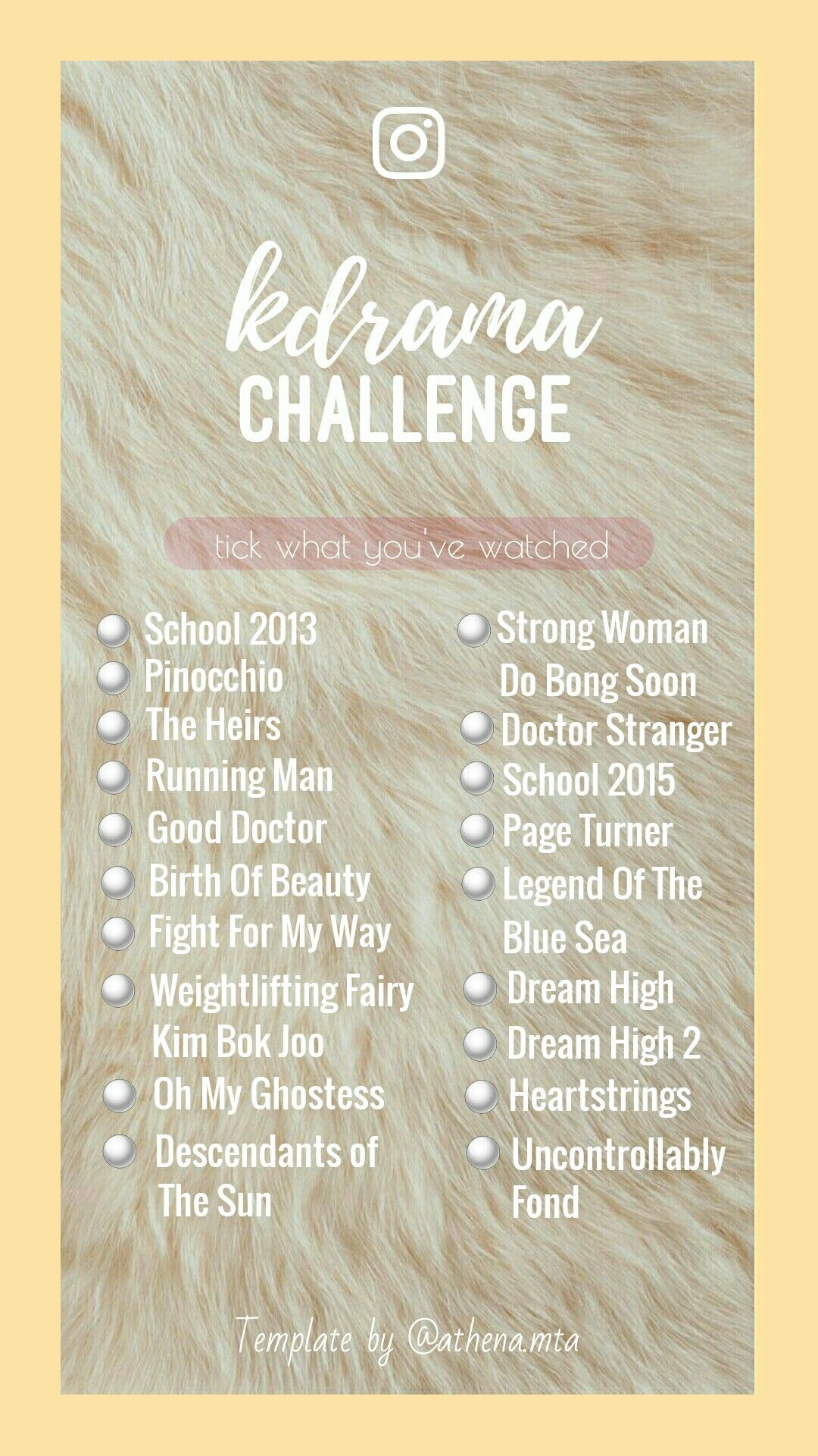 Kdrama Challenge Template Story Template Storytemplate