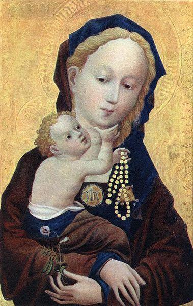 Maitre De La Veronique Detail De La Vierge A La Fleur De Vesce